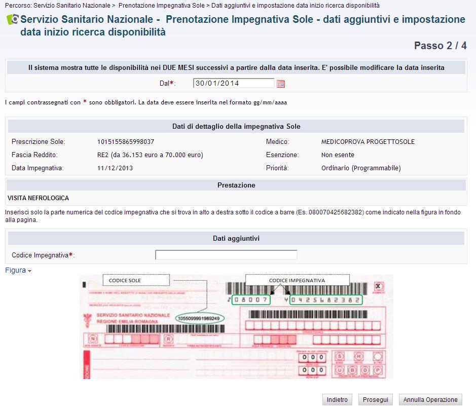 screenshot passo 2 - dati aggiuntivi e impostazione data inizio ricerca disponibilità