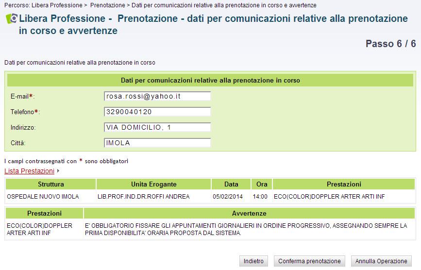 screenshot passo 6 - dati per comunicazioni relative alla prenotazione in corso e avvertenze