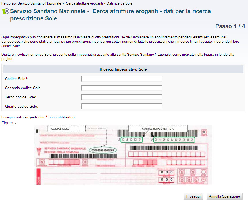 screenshot passo 1 - dati ricerca strutture eroganti