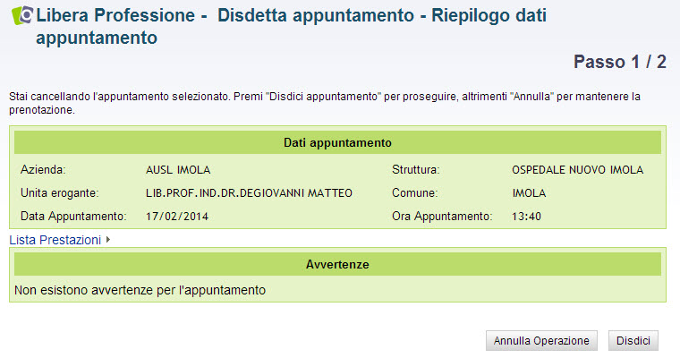 screenshot disdetta appuntamento