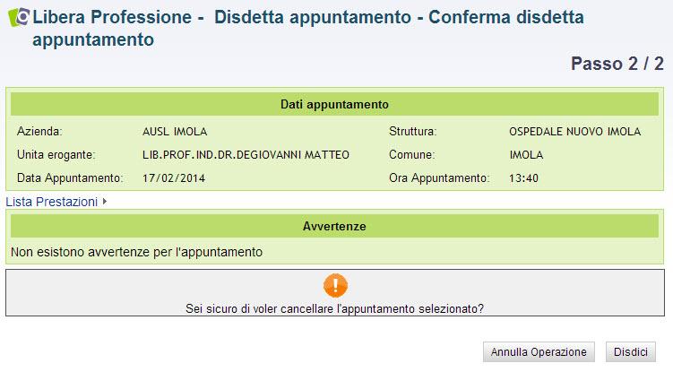 screenshot conferma disdetta appuntamento