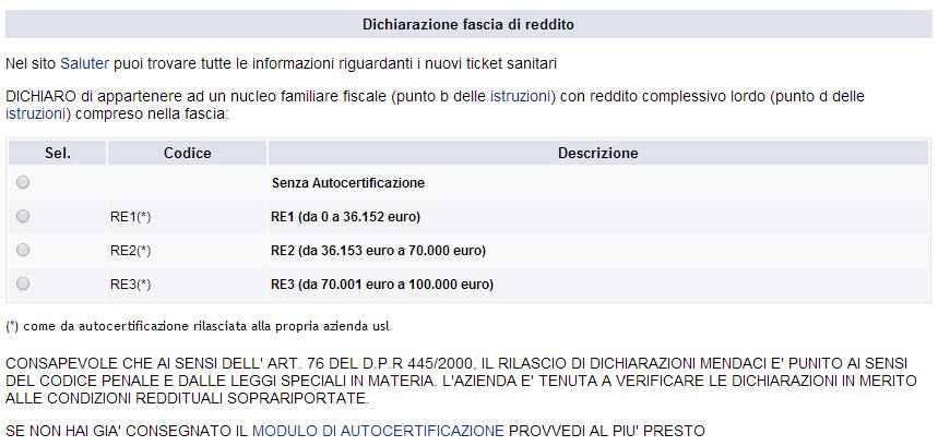 screenshot dichiarazione fascia di reddito