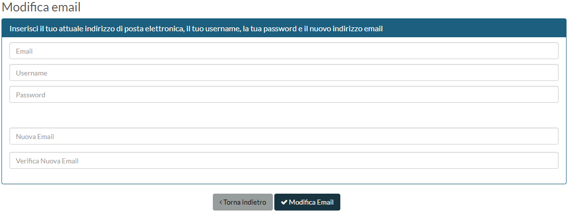 Pannello gestione credenziali - modifica email