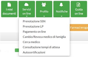 menu principale servizi on line