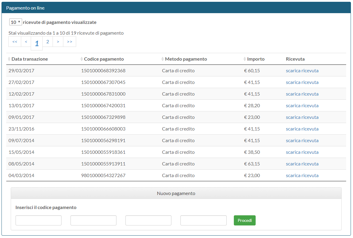 inserisci codice pagamento