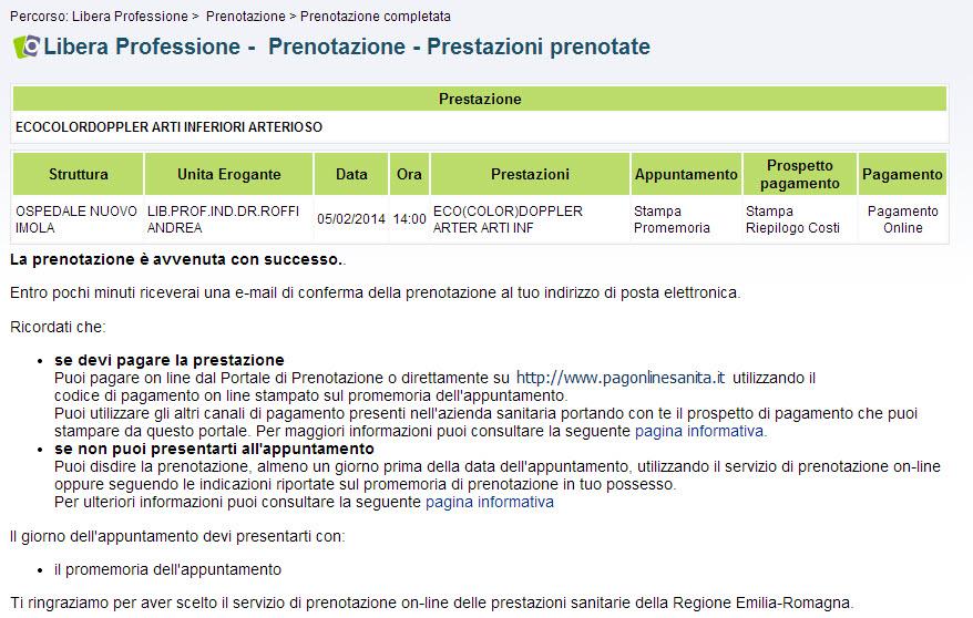 screenshot prestazioni prenotate
