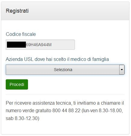 registrazione smartcard step 1