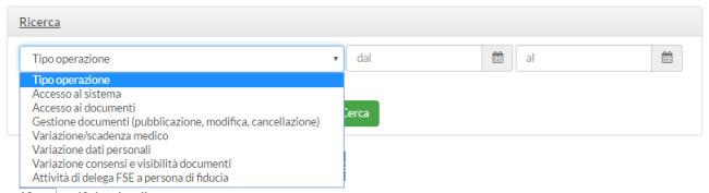 ricerca notifiche - menu tipo operazione