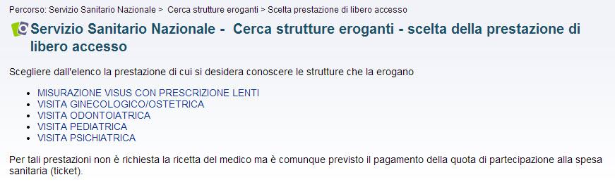 screenshot ricerca strutture eroganti per libero accesso