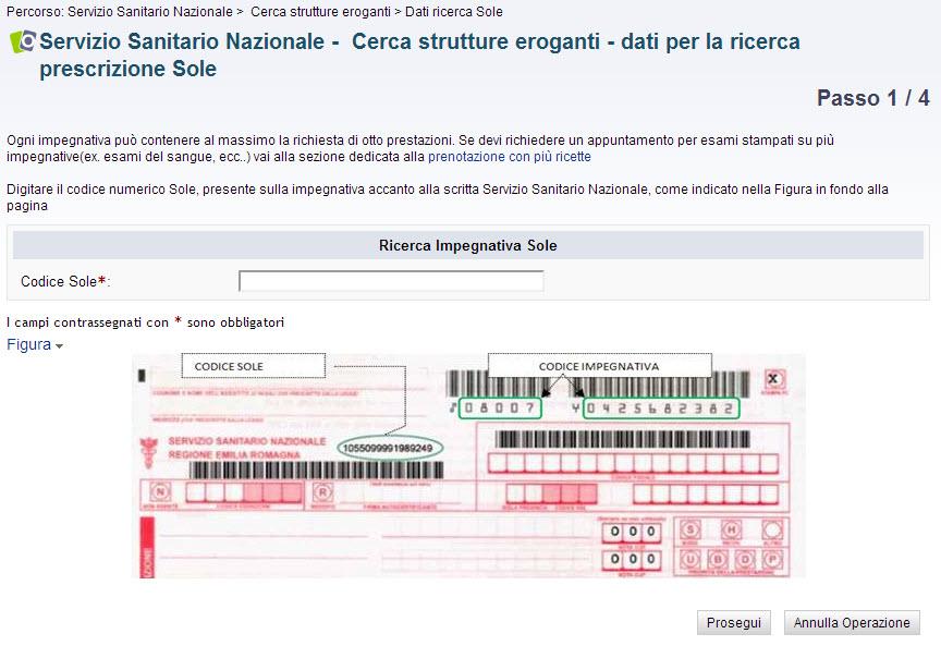 screenshot passo 1 - dati per la ricerca prestazione Sole